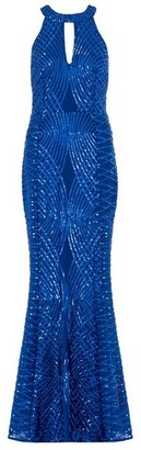 Dorothy Perkins Womens Quiz Royal Blue Mesh Maxi Dress, Blue