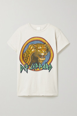 MadeWorn Def Leppard Distressed Printed Cotton-jersey T-shirt - White