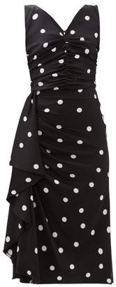 Dolce & Gabbana Polka-dot Ruched Silk-blend Midi Dress - Womens - Black White