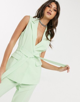 4th & Reckless sleeveless longline blazer in mint