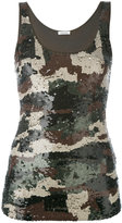 P.A.R.O.S.H. sequined camouflage pattern top - women - Cotton/Polyamide/Spandex/Elastane/PVC - S