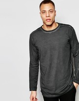 Cheap Monday Long Sleeve Top Shatter Loose Fit Wide Neck Black Overdye