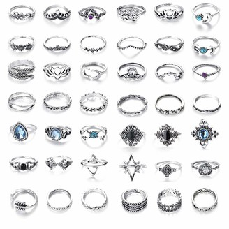 YADOCA 42-62 Pcs Vintage Knuckle Ring Set for Women Girls Turquoise Opal Bohemian Stackable Rings Set
