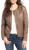 Hinge Women's Collarless Leather Jacket