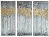 Madison Park Evening Forest Gray 3-Pc. Gel/Foil-Embellished Canvas Print Set