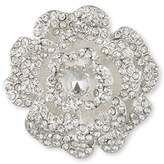 Anne Klein Silver Tone Open Flower Crystal Stones Brooch Set
