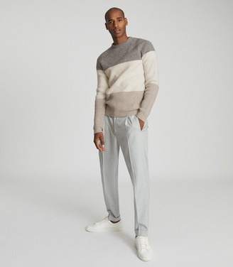 Reiss CONNOR COLOUR BLOCK JUMPER Grey/ecru