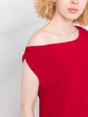 Norma Kamali Off-Shoulder Flared Jumpsuit