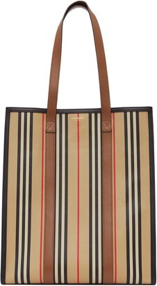 Burberry Medium Icon Stripe E-Canvas Book Tote