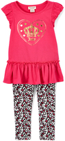 Juicy Couture Deep Pink Heart Tunic & Gray Leopard Leggings - Girls