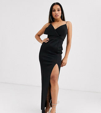 Asos DESIGN Petite fold front scuba thigh split maxi dress