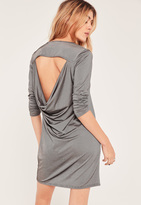 Missguided Silver Metallic Cowl Back Dress