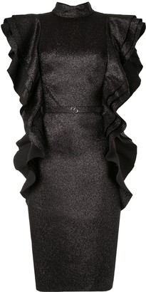 Saiid Kobeisy Backless Ruffled Sleeve Dress
