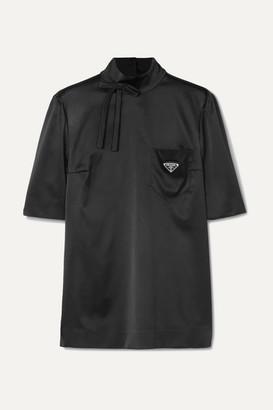 Prada Bow-detailed Embellished Silk-blend Satin Blouse - Black