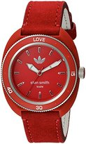 adidas Women's 'Stan Smith' Quartz Plastic and Leather Casual Watch, Color:Red (Model: ADH3183)