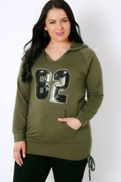 "Yours Clothing Khaki & Black Sequin ""82"" Hoodie With Ruched Sides"