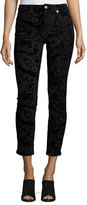 7 For All Mankind Velveteen Paisley Ankle Skinny Jeans, Black