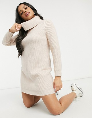 Morgan roll neck knitted dress in cream