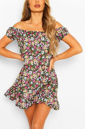 boohoo Cap Sleeve Floral Swing Dress
