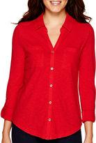 Liz Claiborne Long-Sleeve Roll-Cuff Knit Shirt