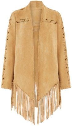 House Of Dharma Suede Fring Jacket - Sand