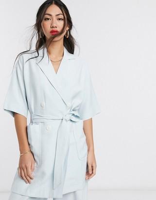 NATIVE YOUTH longline blazer with tie waist co-ord