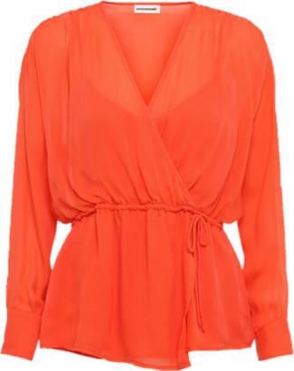 custommade Viola Hot Coral Silk Shirt - S -UK10 / Coral