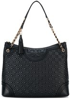 Tory Burch logo embossed tote - women - Leather - One Size