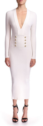 Balmain Long-Sleeve 8-Button Knit Midi Dress