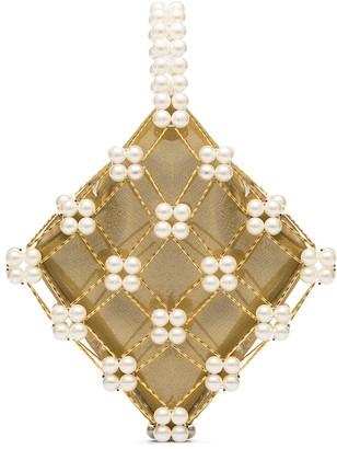 VANINA Camelia pearl-embellished bracelet bag