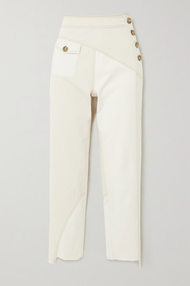 REJINA PYO Lucie Two-tone Paneled Denim Tapered Pants - Ivory