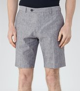 Reiss Galoway - Linen And Cotton Shorts in Blue, Mens