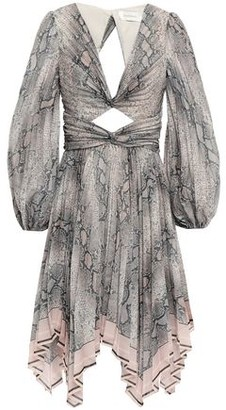 Zimmermann Cutout Pleated Twisted Floral-print Organza Dress