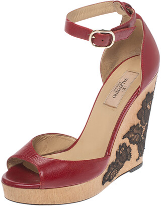 Valentino Red Leather Lace Embellished Wedge Peep Toe Ankle Strap Sandals Size 37.5