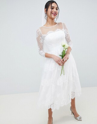 Asos Edition EDITION Lace Long Sleeve Midi Prom Wedding Dress-White