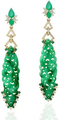 Artisan 18Kt Yellow Gold Carving Jade Emerald Pave Diamond Dangle Earrings Jewelry