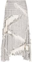Derek Lam Cotton Silk Blend Fringed Jacquard Skirt