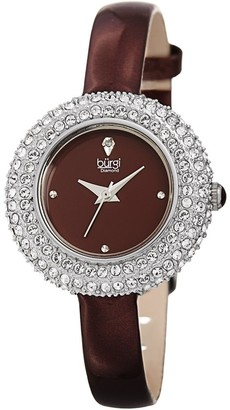 Burgi Ladies Diamond Swarovski Crystal Luxury Burgundy Leather Strap Watch