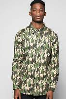 boohoo All Over Camo Print Shirt khaki