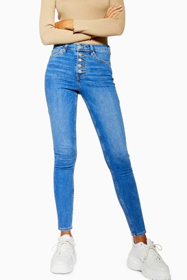 Topshop Womens Mid Blue Button Fly Jamie Jeans - Mid Stone