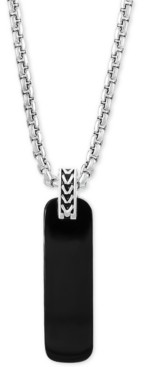 """Effy Men's Onyx (33-1/2 x 10mm) Dog Tag 22"""" Pendant Necklace in Sterling Silver"""