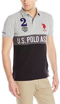 U.S. Polo Assn. Men's Color Block Slim Fit Pique Polo Shirt with Number 2 Appliques