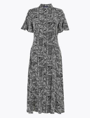 Marks and Spencer Dash Print Flutter Sleeve Midi Shirt Dress