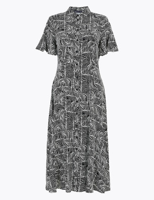 Marks and Spencer Dash Print Flutter Sleeve Midi Shirt Dress