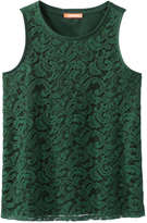 Joe Fresh Women's Lace Front Tank, JF Jag Green (Size XS)