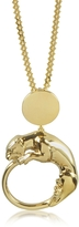 Roberto Cavalli Panther Light Gold Tone Metal Pendant