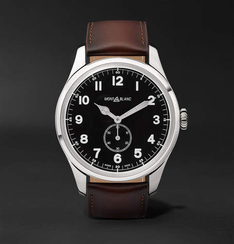 Montblanc 1858 Automatic 44mm Stainless Steel And Leather Watch