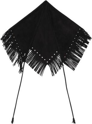 Saint Laurent fringed triangle scarf