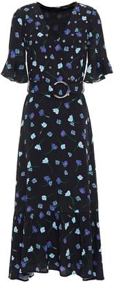Markus Lupfer Greta Belted Floral-print Crepe Midi Dress