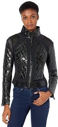 Blanc Noir Snake Moto Jacket (Black Snake) Women's Clothing